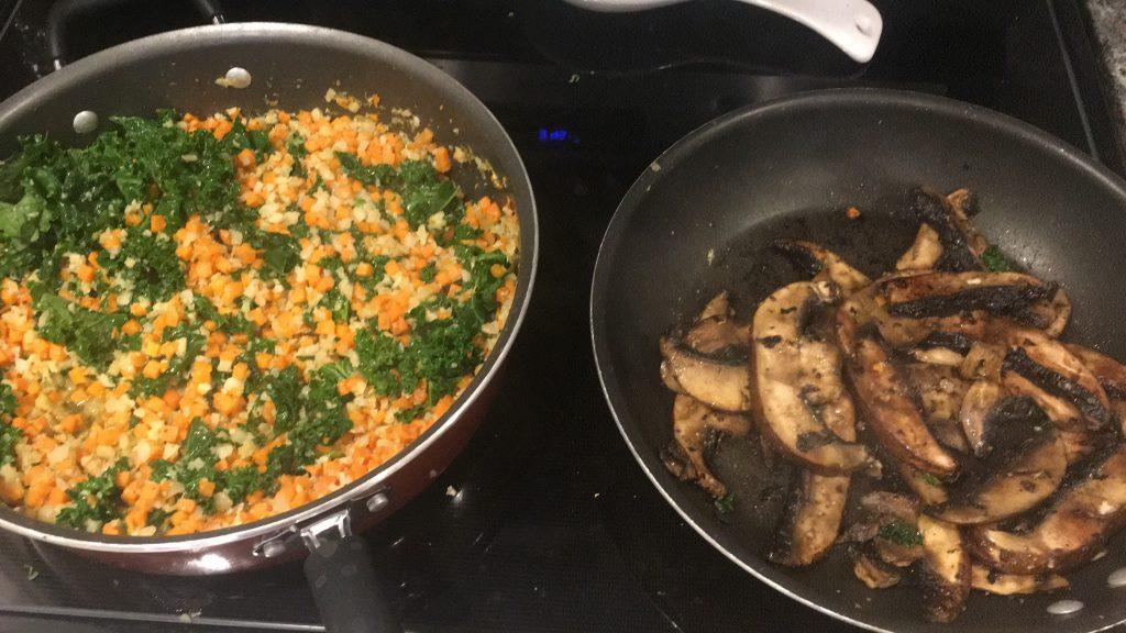 cauliflower rice and sautéed mushrooms healthy dinner