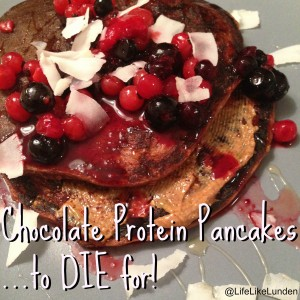 chocolate protein pancakes to die for