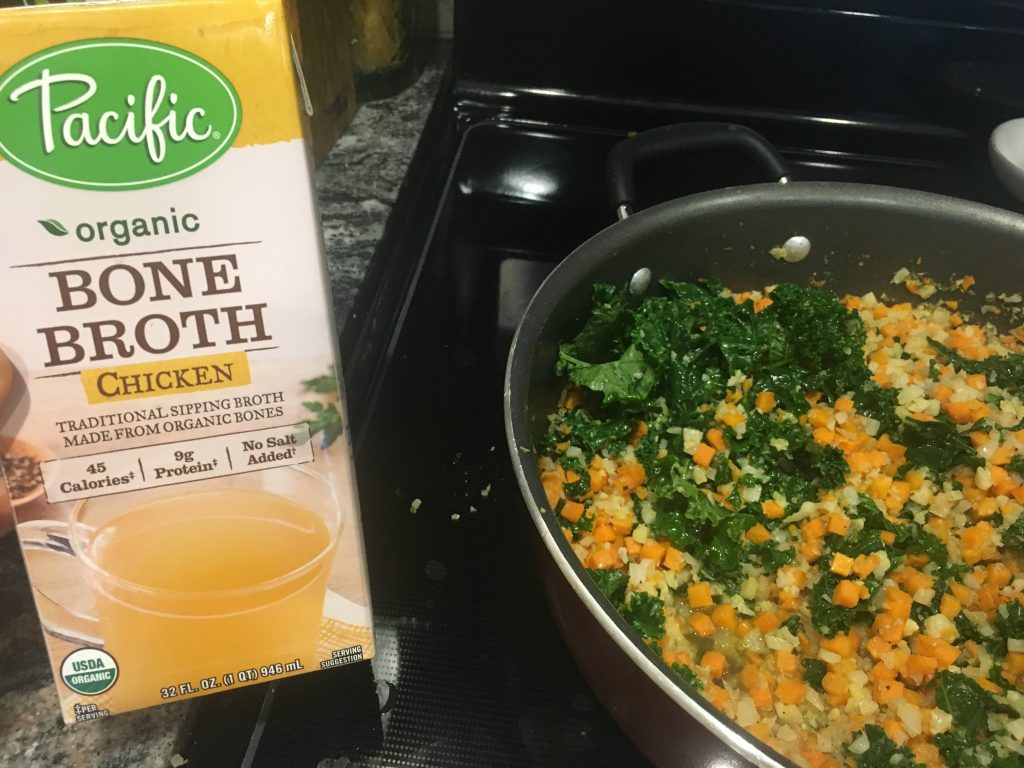 cauliflower rice with bone broth and kale